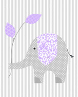 elephant nursery print on stripes with leaves