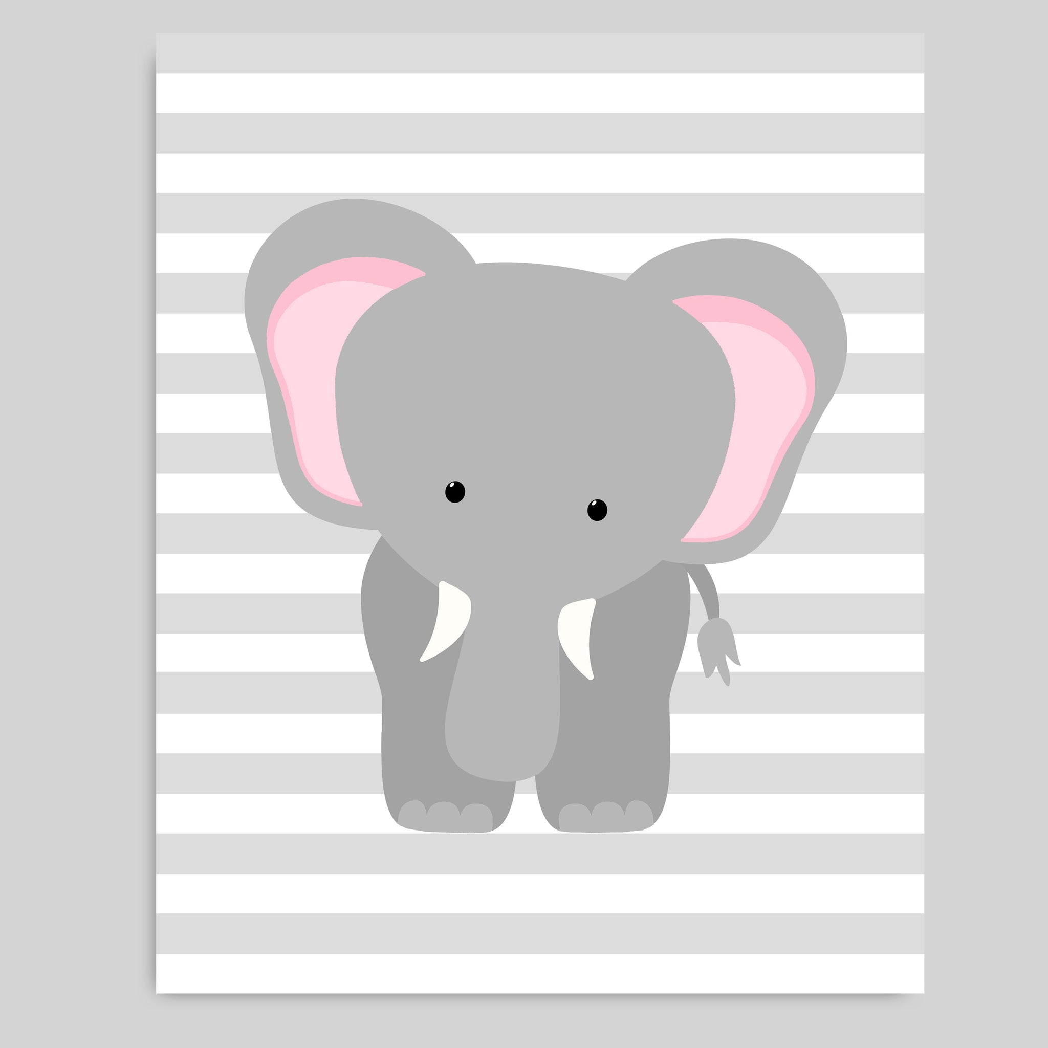 Printable elephant nursery wall art pink and grey elephant picture instant download