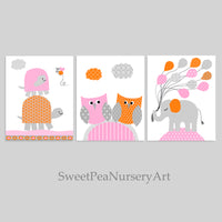 Orange and pink baby girl nursery decor