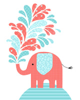 elephant splashing water art print