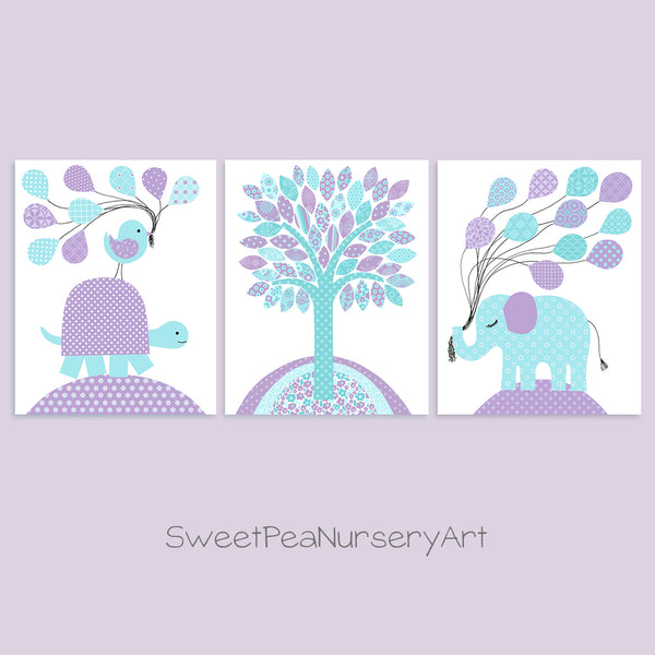 set of three aqua and purple nursery art prints with a turtle with balloons, elephant with balloons and tree print.