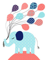 Nursery print of an elephant holding a bunch of balloons