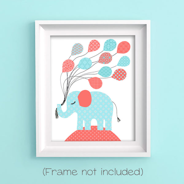 nursery print of an elephant holding a bunch of balloons in aqua and coral