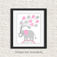 pink and grey elephant nursery print