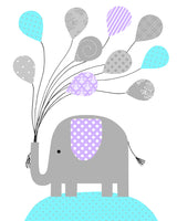 Nursery print of an elephant holding a bunch of balloons in aqua, gray and purple
