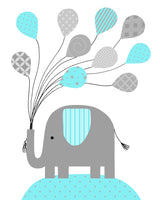 Aqua and grey nursery picture of an elephant holding a bunch of balloons