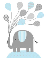 baby blue and gray elephant with balloons nursery print