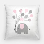 grey and pink elephant nursery pillow