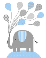 baby boy nursery print of an elephant holding balloons