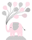 baby pink and gray elephant nursery print