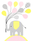 elephant with balloons nursery print