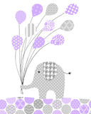 gray and purple elephant holding balloons nursery print