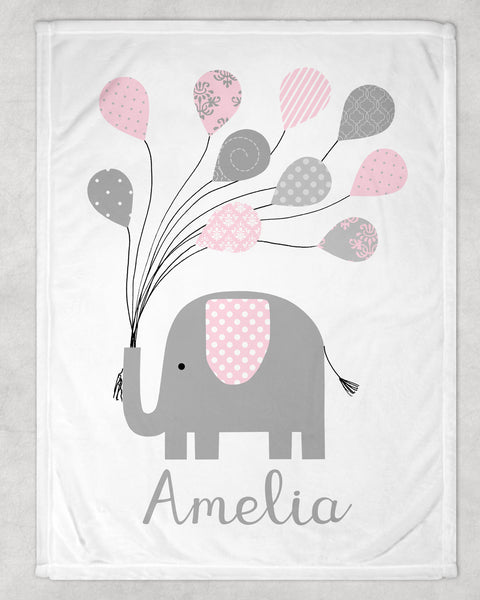 personalized minky baby blanket with gray and pink elephant holding balloons and child's name