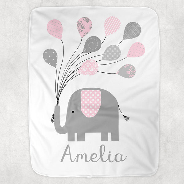 personalized pink and grey elephant fleece blanket