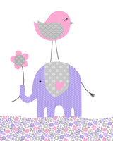 baby girl elephant art print for nursery