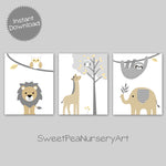 Printable Jungle Animal Nursery Art | Lion Giraffe Elephant Sloth Owl | Set of 3 | Beige Gray