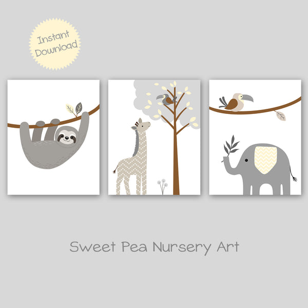jungle animal nursery art set