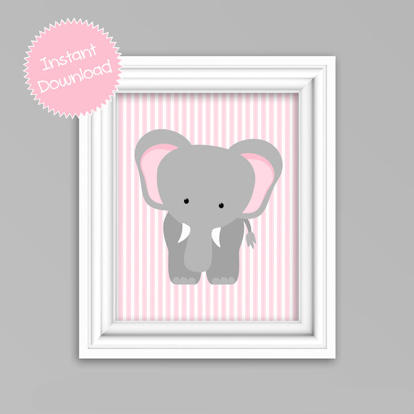 Printable Elephant Nursery Wall Art | Pink and Grey Elephant Picture | Instant Download