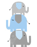 nursery print with three blue and grey elephants stacked on top of each other