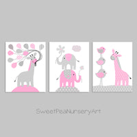 gray and pink nursery prints for baby girl
