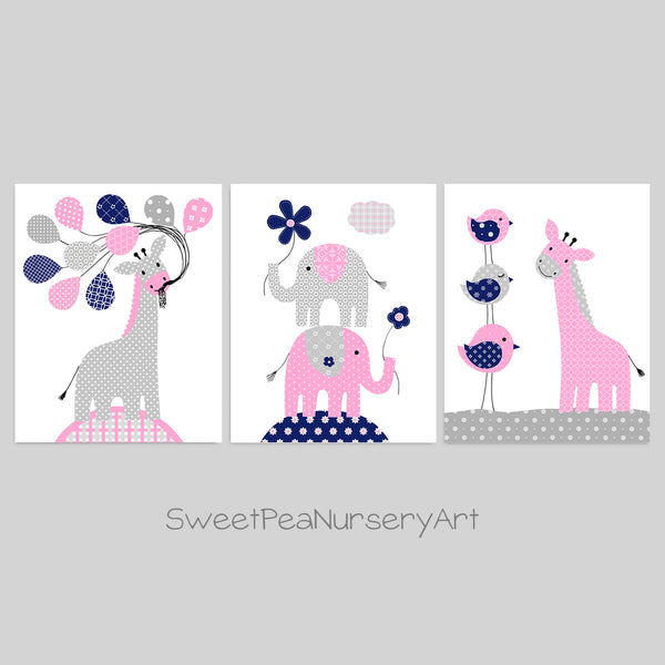 Set of three elephant and giraffe nursery art prints in gray, navy and pink.