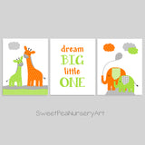 Green and orange baby boy nursery decor