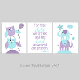 set of three aqua and purple nursery art prints