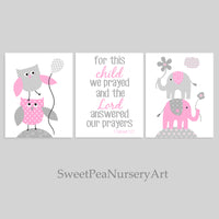 grey and pink owl and elephant nursery art prints