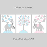 blue and pink twin baby elephant nursery pictures