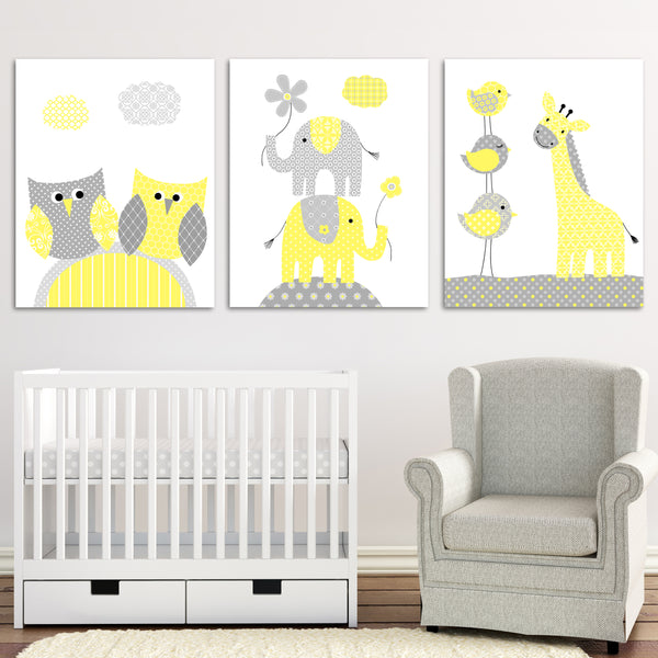 Gray and Yellow Nursery Art, Elephant Nursery, Giraffe Decor, Owl Nursery, Gender Neutral, Baby Room