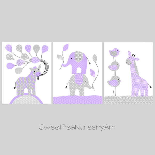 Purple and grey zoo animal decor