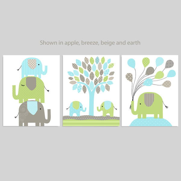 blue, brown and green elephant nursery prints