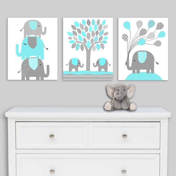 aqua and grey set of elephant nursery prints