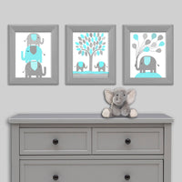 Set of three elephant nursery canvas prints
