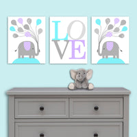set of three elephant nursery prints
