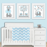 set of three elephant blue and gray nursery prints