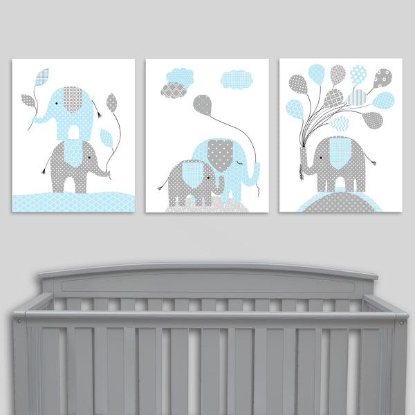 baby blue and grey elephant nursery decor