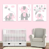 Set of three pale pink and grey elephant prints