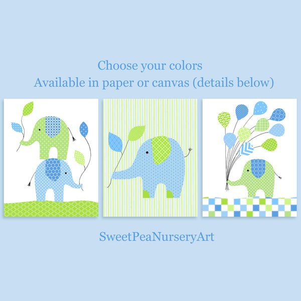 set of three elephant nursery art prints in blue and green