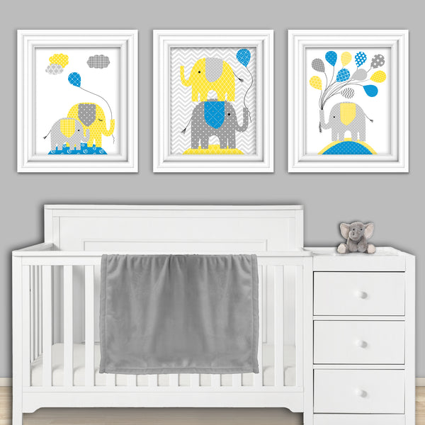 Set of three elephant blue and yellow nursery prints