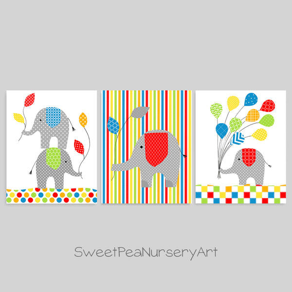 colorful elephant nursery prints