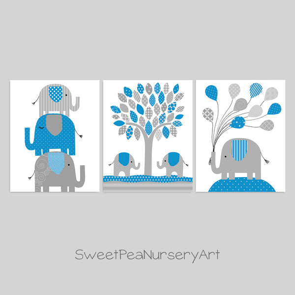Set of three blue and grey elephant nursery art print