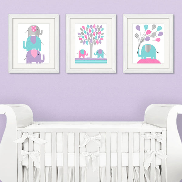 Set of three elephant prints for a baby girl nursery