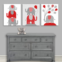 Set of three red and grey elephant nursery pictures
