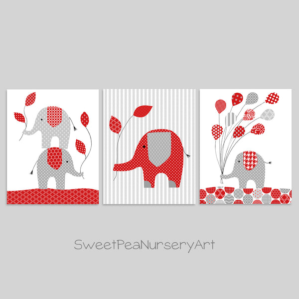 Grey and red baby boy elephant nursery decor