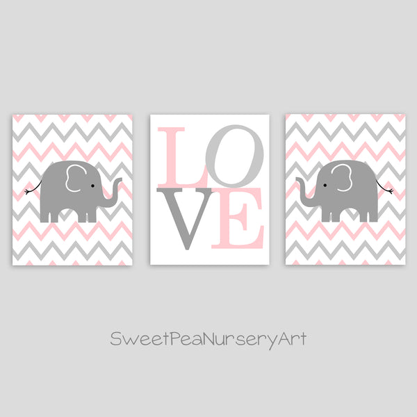 Pink and gray elephant and LOVE prints.