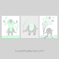 Grey and mint elephant nursery decor