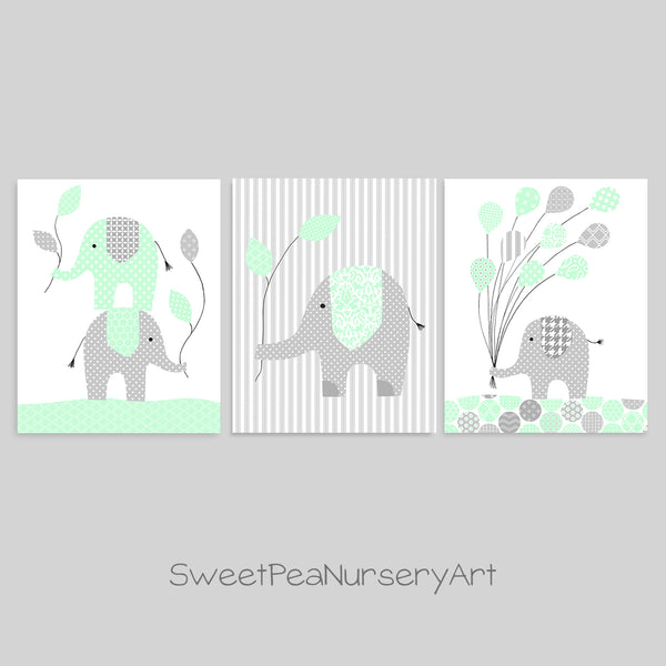 gray and mint elephant baby decor
