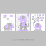 lilac and gray elephant nursery art prints