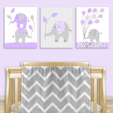 set of three lilac and gray elephant canvas prints